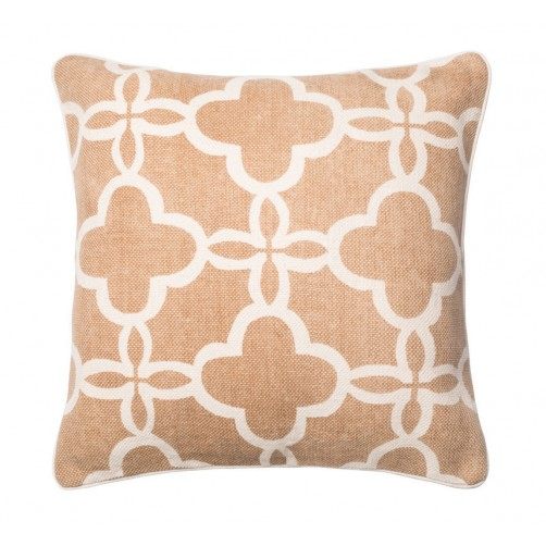 beige & ivory trellis pillow