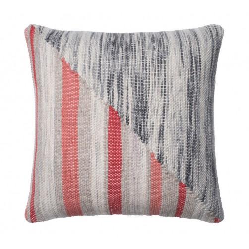 dhurri style grey & coral pillow
