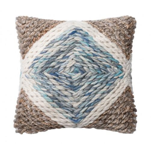 dhurri style blue & natural diamond pillow