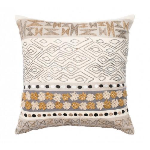 beige & grey applicade pillow