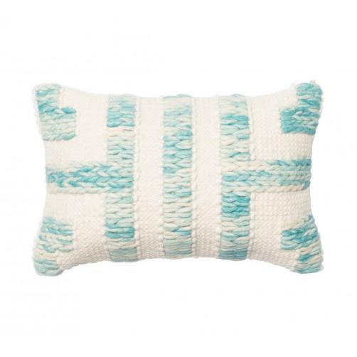 dhurri style blue & ivory bolster pillow