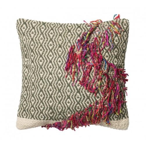 dhurri style chevron diamond pillow w/ braided fringe accent