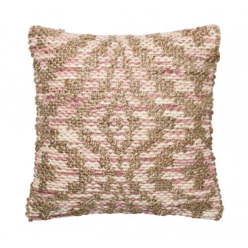 dhurri style lilac & beige woven pillow