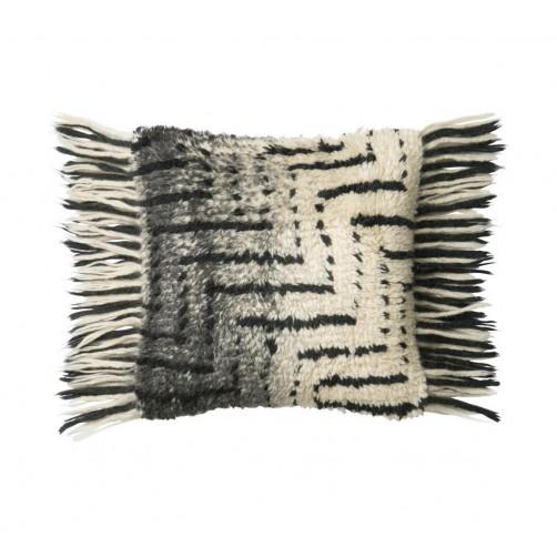 black & ivory shag front fringe pillow