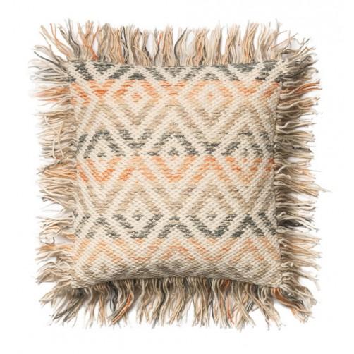beige & orange diamond fringe pillow