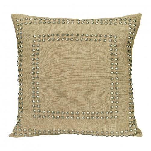 natural linen small studded pillow