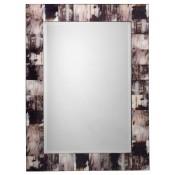 grey faux horn rectangular mirror
