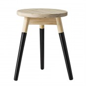 black & natural round wood stool