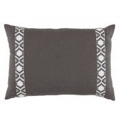 lacefield grey linen with gunmetal on white camden tape lumbar pillow
