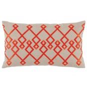 lacefield chevron orange embroidery lumbar pillow