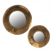 Round mirrors with vintage wood bowl frame (set of 2)