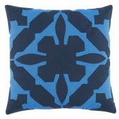 lacefield gloria applique royal and navy linen pillow