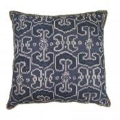 lacefield bengali indian blue pillow with jute eyelash trim