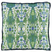 lacefield bombay kelly pillow with trellis kelly gusset & navy linen flange