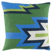 lacefield kilim linen applique pillow with kelly, royal, eggshell, and lime
