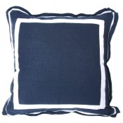 lacefield navy linen pillow with white twill tape