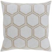 surya metallic stamped silver & tan pillow
