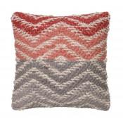 dhurri style coral & grey chevron pillow