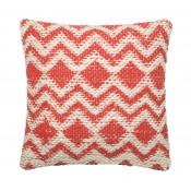 dhurri style coral chevron pillow