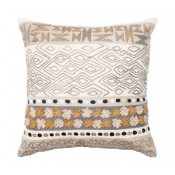 beige & grey applicade pillow