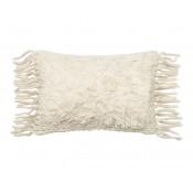 ivory shag front fringe bolster pillow