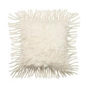 ivory shag front fringe pillow