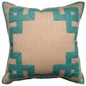raffia putty fretwork pillow