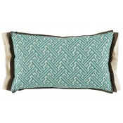 lacefield trellis mist lumbar pillow with mud and eggshell linen double flange