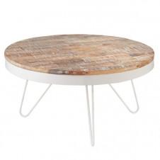washed wood & metal coffee table