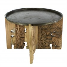homart portico salvaged wood table w/ brass tray