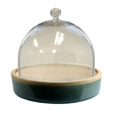 homart mulberry ceramic teal tray w/ glass dome, large