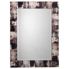 grey faux horn rectangular mirror