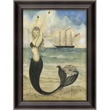 """black pearl oyster lounge"" mermaid art"