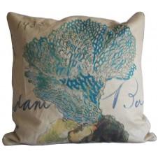 linen blue coral pillow