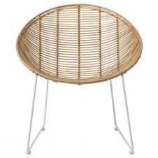 natural braided rattan lounge chair