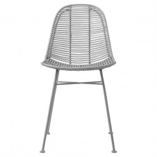 grey braided rattan chair