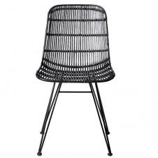 black braided rattan chair