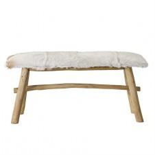 wood bench w/ goat fur top