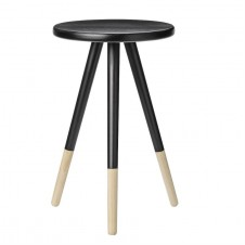 black & natural round wood table