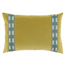 lacefield quince velvet with amalfi glass tape lumbar pillow