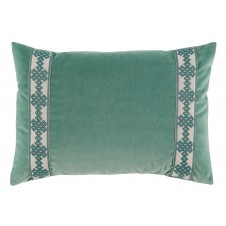 lacefield viridian velvet with amalfi glass tape lumbar pillow