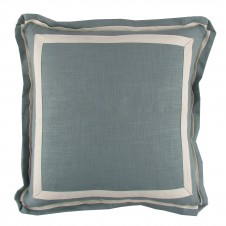 lacefield aquamarine linen pillow with natural twill tape