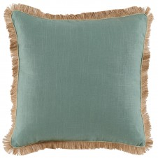 lacefield aquamarine linen pillow with seafoam linen pipe and jute fringe