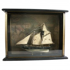 american sailboat in wood shadowbox