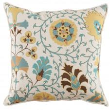 lacefield calypso citron pillow with white eyelash trim