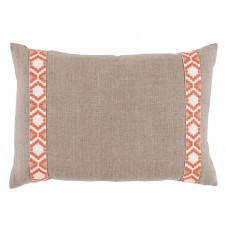 lacefield natural linen with coral on white camden tape lumbar pillow