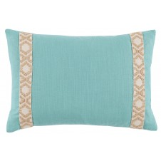 lacefield peacock linen with tan on off white camden tape lumbar pillow