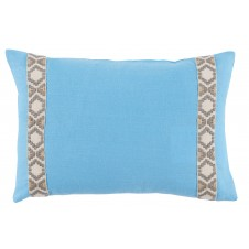 lacefield sky linen with grey on white camden tape lumbar pillow
