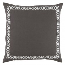 lacefield grey linen with gunmetal on white camden tape pillow