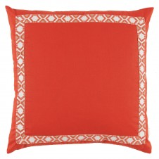 lacefield mandarin linen with coral on white camden tape pillow